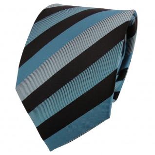 Schicke Krawatte türkis wasserblau mint schwarz gestreift - Binder Tie