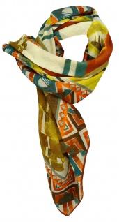 Halstuch braunrot orange beige gelb petrol grün grau gemustert - Gr. 95 x 95 cm