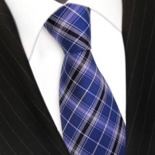Designer Seidenkrawatte blau kobaltblau silber schwarz gestreift- Krawatte Seide - Vorschau 3