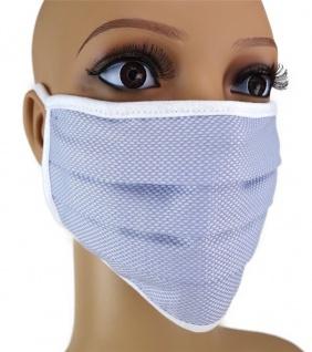 TigerTie Gesichtsmaske mit Nasenbügel Pique blau-weiss gemustert Schnürbändchen
