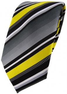TigerTie Designer Krawatte in gelb silber grau weiss gestreift - Tie Binder