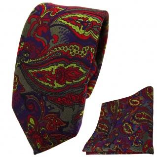 schmale TigerTie Krawatte +Einstecktuch violett olive rot blau Paisley gemustert