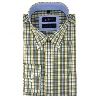 Ben Green Herrenhemd grün weiß kariert langarm bügelleicht - Hemd Gr.43/44 XL