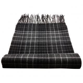 Feiner Designer Schal anthrazit schwarz grau dunkelgrau creme kariert - Cashmink