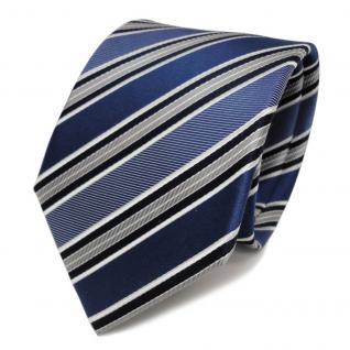 Designer Seidenkrawatte blau capriblau grau weiss gestreift - Krawatte Seide Tie