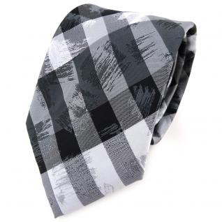TigerTie Designer Krawatte in anthrazit grau silber schwarz gestreift - Binder