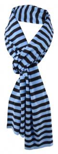 Damen Schal blau hellblau schwarz gestreift Gr. 172 cm x 27 cm - Halstuch Tuch