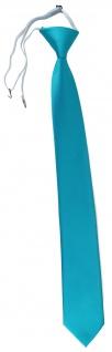 TigerTie Sicherheits Krawatte in türkis türkisblau einfarbig Uni Rips