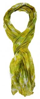 TigerTie - gecrashter Schal in gelb grün grau olive gemustert