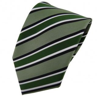 TigerTie Designer Krawatte grün schwarz weiß gestreift - Schlips Tie