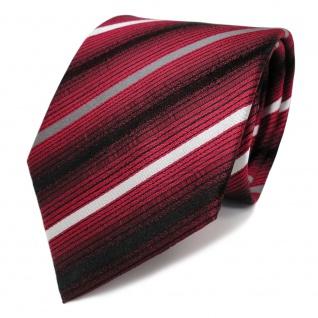 Stilvolle Seidenkrawatte rot grau silber schwarz gestreift - Krawatte Seide Tie