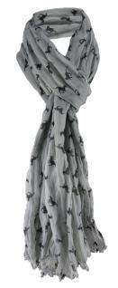 gecrashter TigerTie Schal in grau schwarz mit Pferdemotiven gemustert