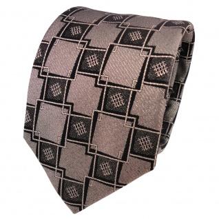 TigerTie Lurex Seidenkrawatte schwarz gold gemustert - Designer Krawatte Seide