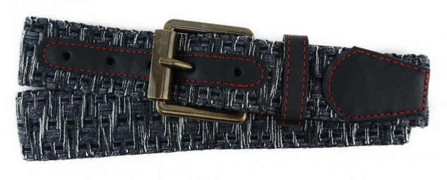 TigerTie - Stoffgürtel in anthrazit schwarz weiss gemustert - Bundweite 110 cm
