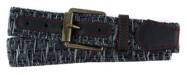 TigerTie - Stoffgürtel in anthrazit schwarz weiss gemustert - Bundweite 120 cm