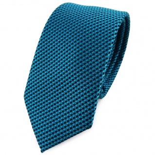 Schmale TigerTie Krawatte in türkisblau schwarz gemustert - Schlips Binder Tie
