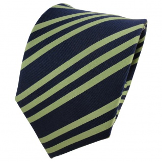 TigerTie Seidenkrawatte grün blau dunkelblau royal gestreift - Krawatte Seide