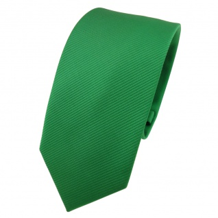 Schmale TigerTie Designer Krawatte grün leuchtgrün Uni Rips - Binder Tie