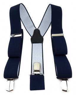 TigerTie Unisex Hosenträger mit 3 extra starken Clips - navy einfarbig Uni