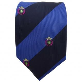 TigerTie Krawatte blau saphirblau dunkelblau gestreift mit Wappen - Tie Binder - Vorschau 2