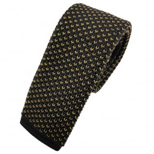 Schmale Strickkrawatte anthrazit gelb gemustert - Krawatte Polyester Tie
