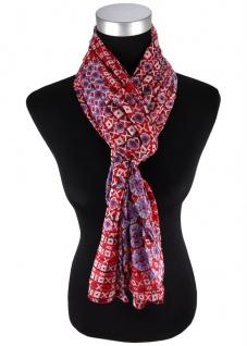 Schal in rot blau grau schwarz gemustert - Gr. 180 cm x 50 cm - 100% Baumwolle