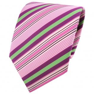 TigerTie Krawatte rosa lila violett grün creme gestreift - Schlips Binder Tie