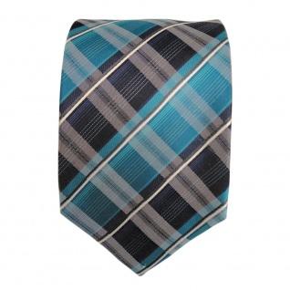 TigerTie Seidenkrawatte türkis mint opal grün blau weiss gestreift - Krawatte - Vorschau 2