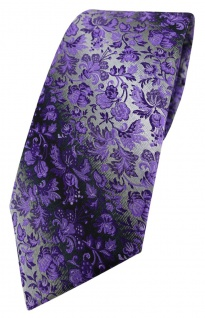 TigerTie Designer Krawatte in lila anthrazit grausilber geblümt gemustert