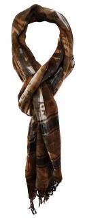 TigerTie Designer Schal in braun kaffeebraun grau schwarz gemustert mit Fransen