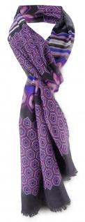 edler Schal in lila violett grau schwarz gemustert - Schalgröße in 180 x 50 cm
