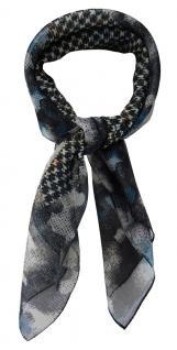 TigerTie Damen Chiffon Nickituch anthrazit blau schwarz gemustert - 58 x 58 cm