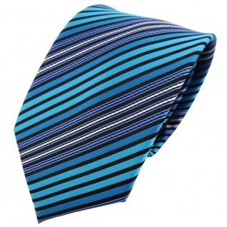 TigerTie Designer Krawatte türkis blau schwarz silber gestreift - Tie Binder