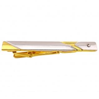 Herren Designer Krawattennadel - Krawattenklammer Farbe silber gold mit Zirkonia