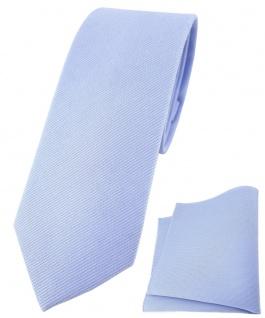 schmale TigerTie Krawatte + Einstecktuch aus 100% Baumwolle in blau einfarbig