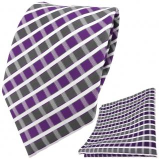 TigerTie Designer Krawatte + Einstecktuch violett grau silber weiss gestreift