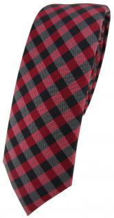 schmale TigerTie Krawatte Schlips in bordeaux anthrazit schwarz kariert (4, 5 cm)