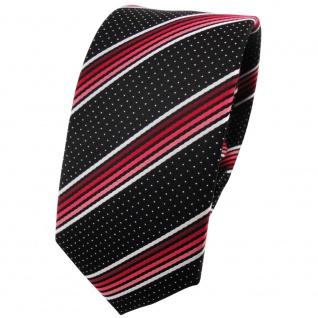 Schmale TigerTie Krawatte rot silberweiss schwarz gestreift - Schlips Binder Tie
