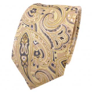 TigerTie Designer Krawatte gelb gold beige sandgelb anthrazit Paisley gemustert