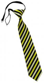 TigerTie Kinderkrawatte in gelb schwarz gestreift - vorgebunden Gummizug