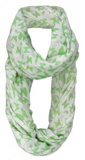 Damen Loop Schal in grün weissgrau Motiv Schmetterlinge - Gr. 160 x 100 cm