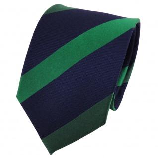 TigerTie Seidenkrawatte grün dunkelgrün blau dunkelblau gestreift - Krawatte Tie