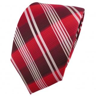 TigerTie Designer Krawatte rot verkehrsrot bordeaux silber gestreift - Binder