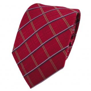 Designer Seidenkrawatte rot signalrot blau gold kariert - Krawatte Seide Silk