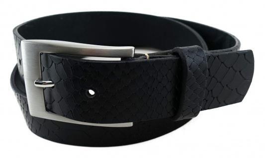 TigerTie - Wasserbüffelledergürtel in schwarz - Kroko-Optik - Bundweite 120 cm