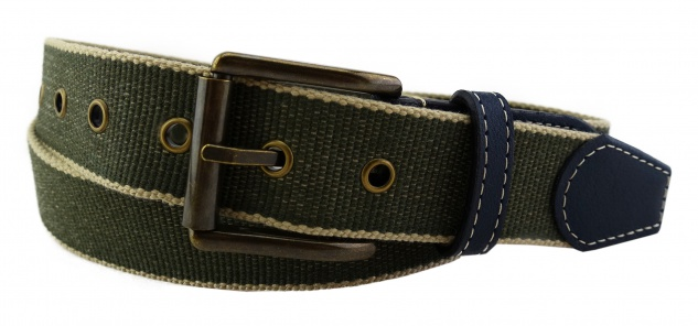 TigerTie - Stoffgürtel in grün oliv beige gemustert - Bundweite 100 cm
