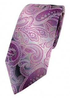 TigerTie Designer Seidenkrawatte in lila magenta grau silber Paisley gemustert - Vorschau 1
