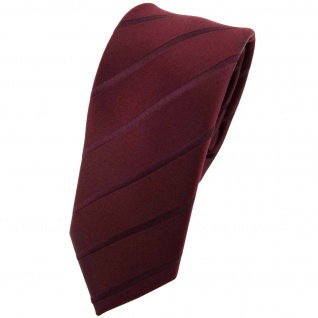 Schmale Designer Seidenkrawatte braun bordeauxbraun gestreift - Krawatte Seide Binder