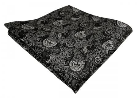 TigerTie Einstecktuch anthrazit schwarz grau Paisley - Tuch Polyester