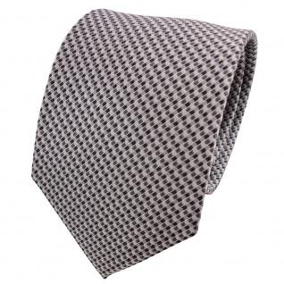 TigerTie Seidenkrawatte silber grau anthrazit gemustert - Krawatte Seide Tie
